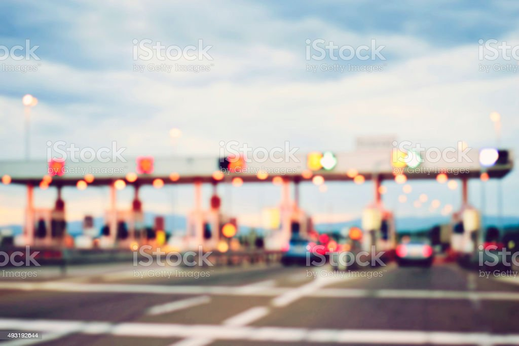pay for using highway and motorway, abstract bokeh of light stock photo