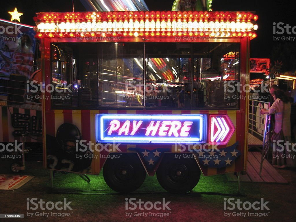 Pay Here Neon Sign stock photo
