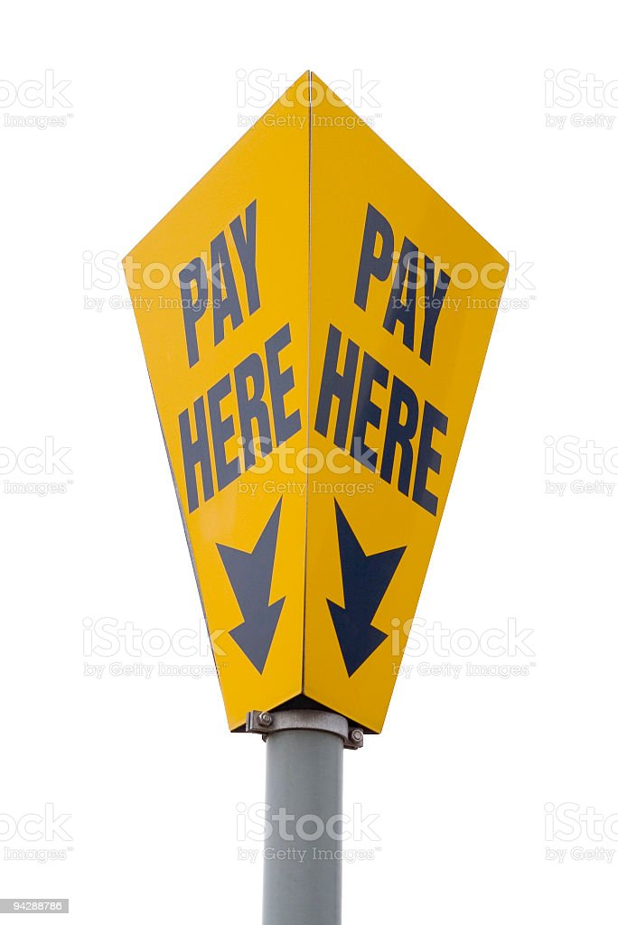 Pay here sign on clean white background stock photo