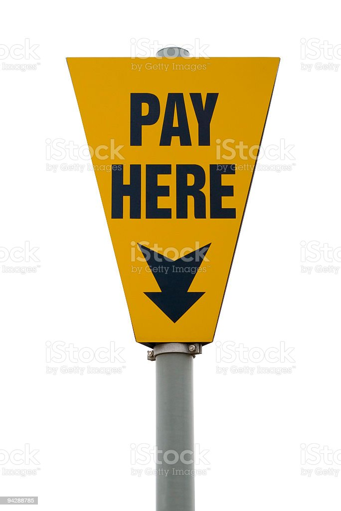 Pay here sign with arrow royalty-free stock photo