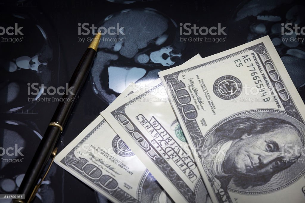 Pay money for good health care stock photo
