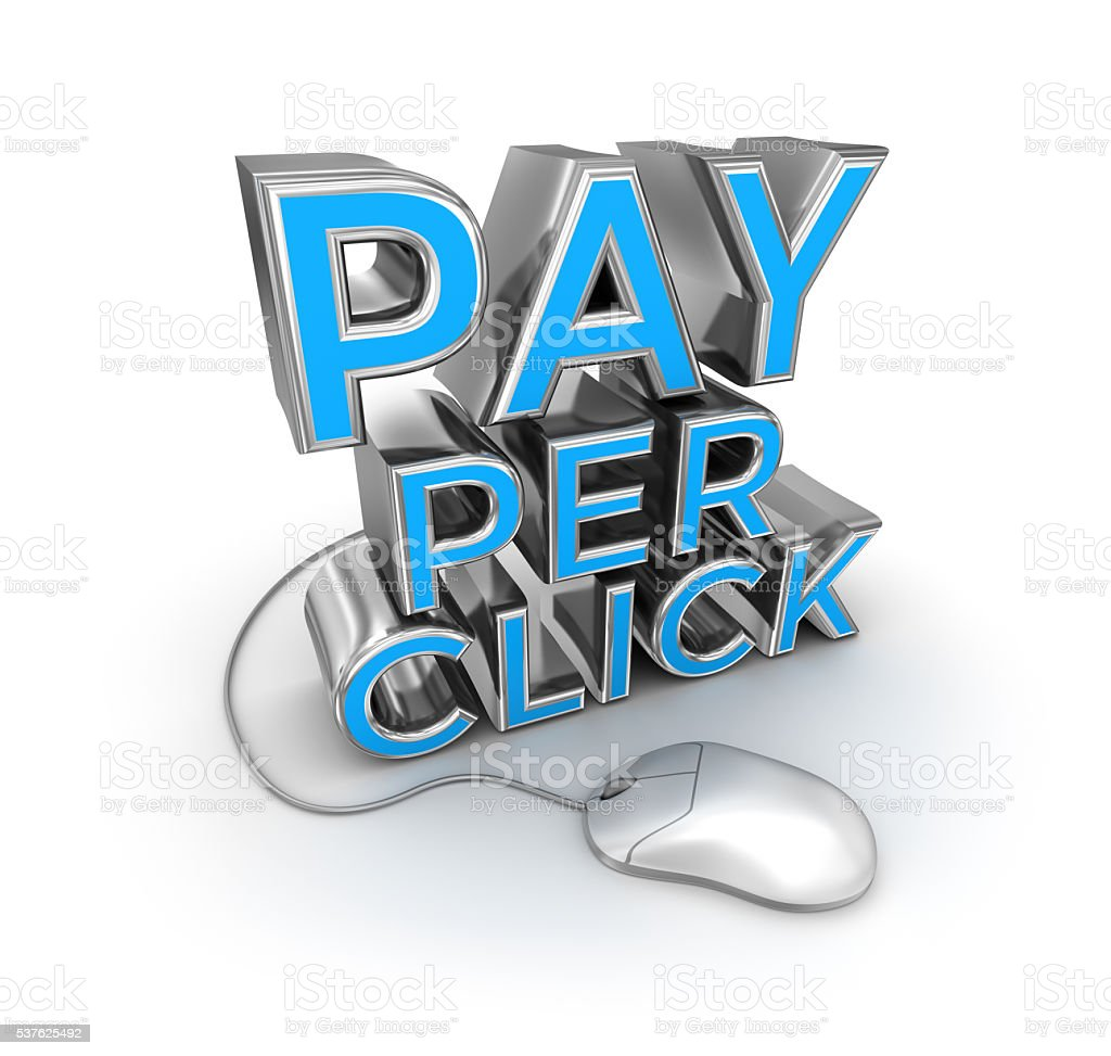 Pay Per Click text and mouse stock photo