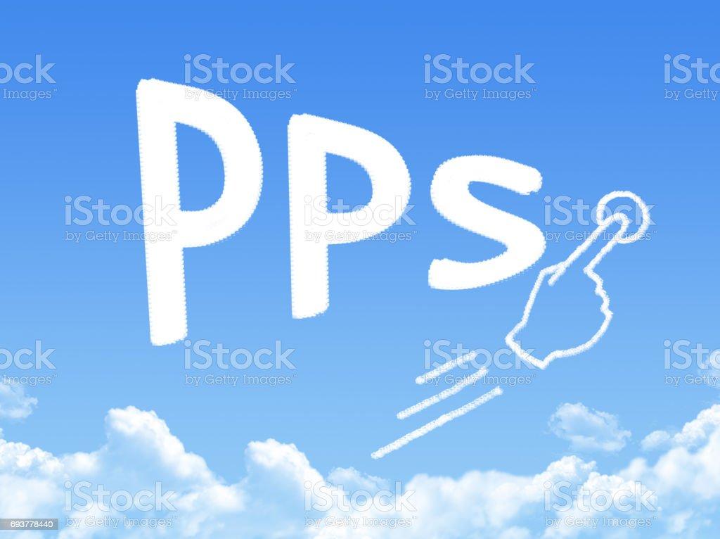 pay per sale message cloud shape stock photo