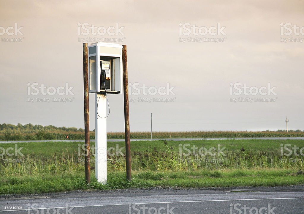 Pay Phone By Road stock photo