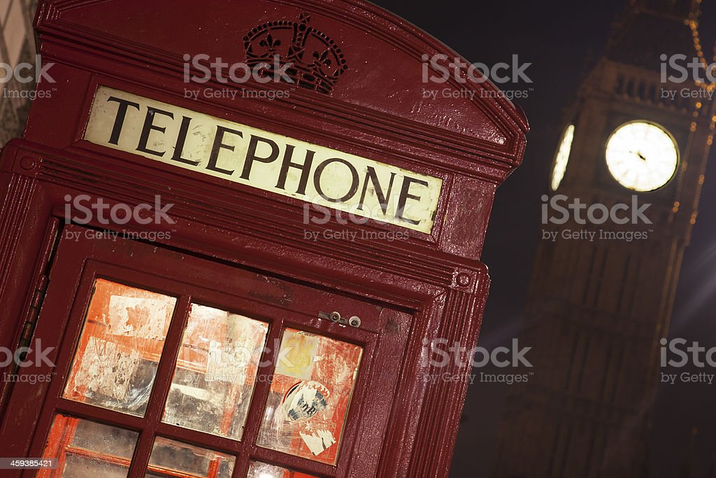 Pay phone in London stock photo