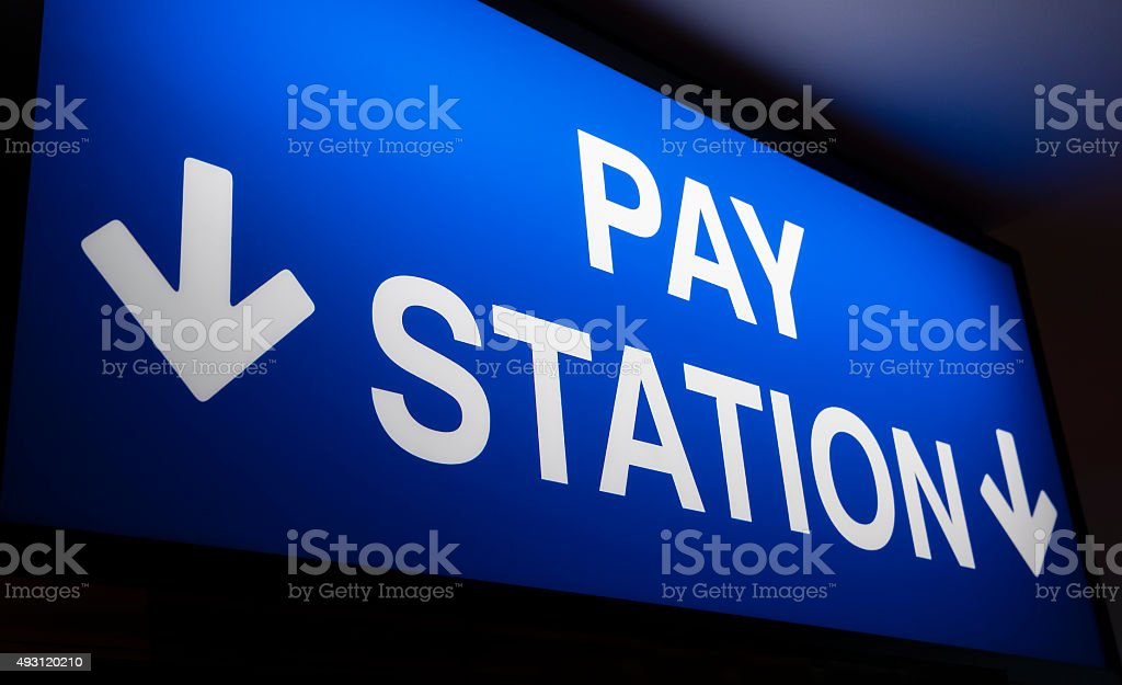 Pay station sign stock photo