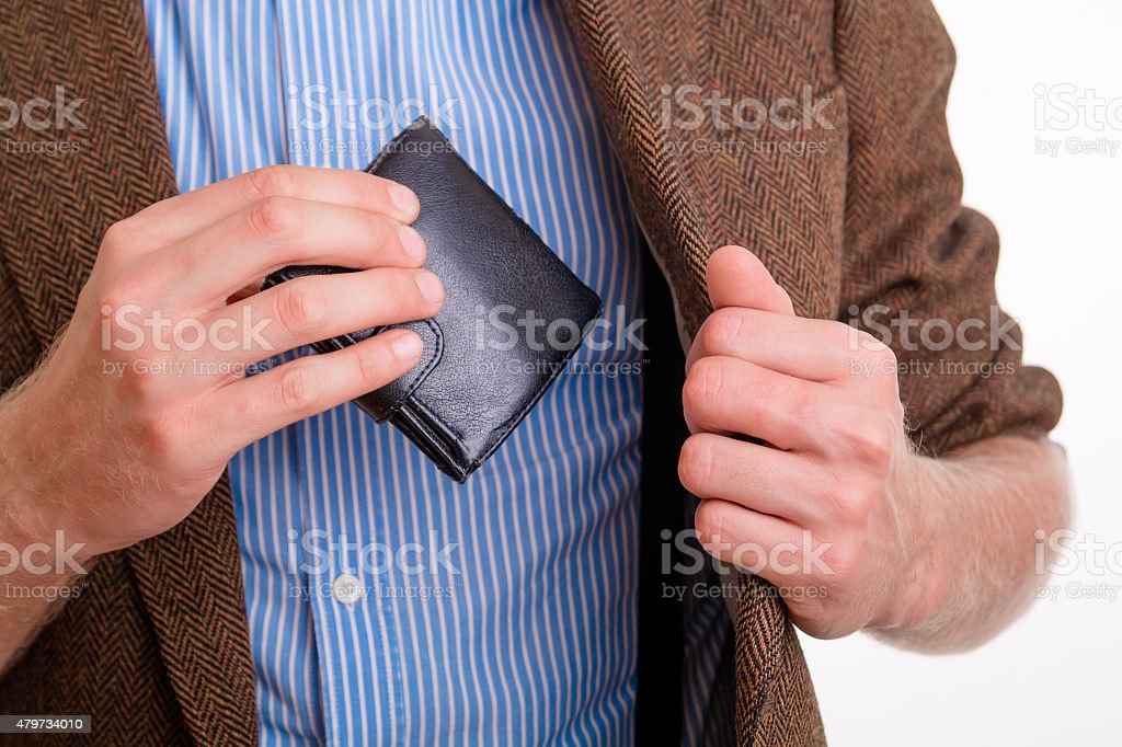 Pay the money in your wallet stock photo