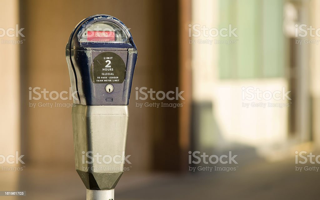 Pay to Park Parking Meter Downtown Expired Status stock photo