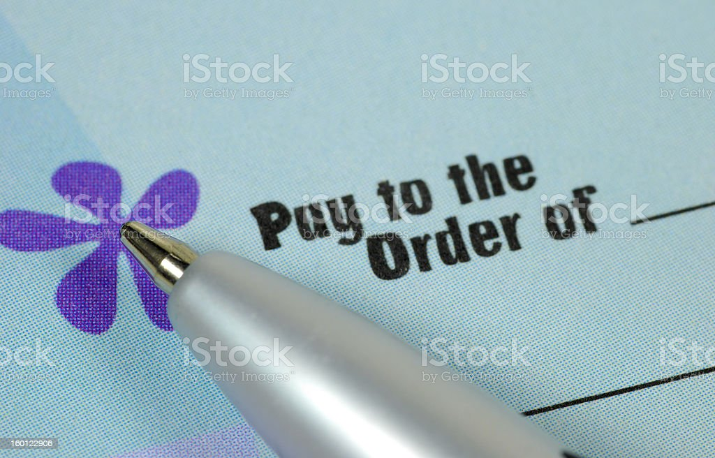 Pay To The Order Of royalty-free stock photo