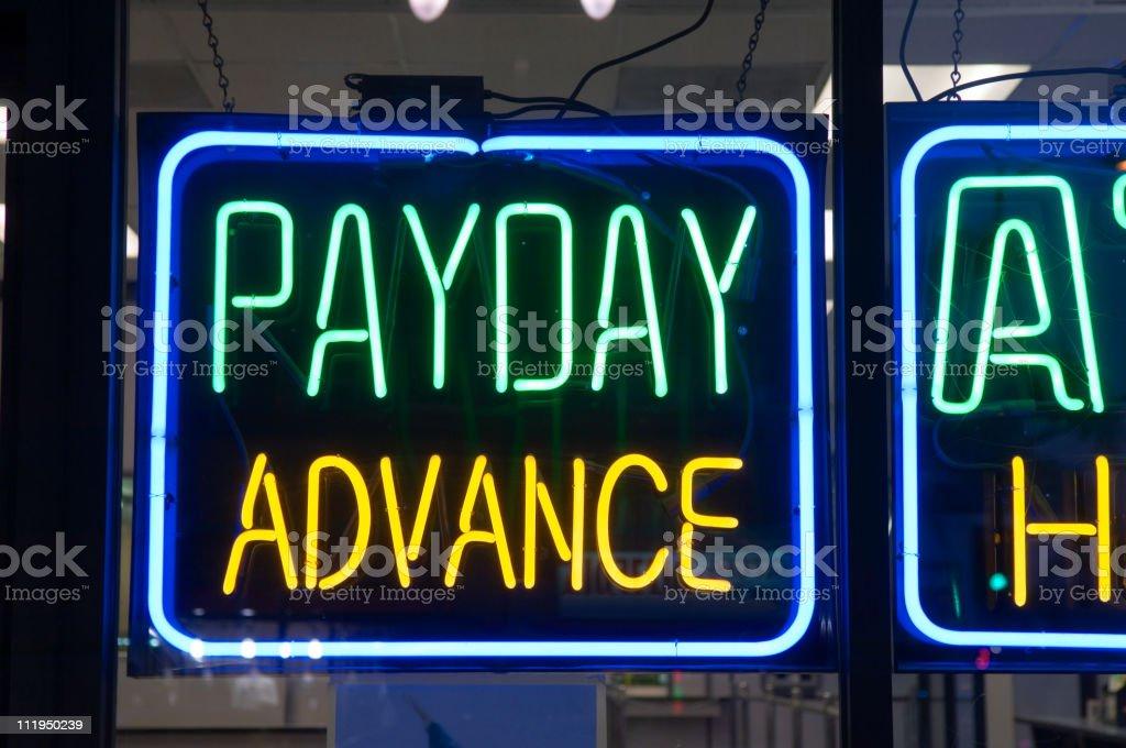 Payday Advance Check Cashing Neon Sign stock photo