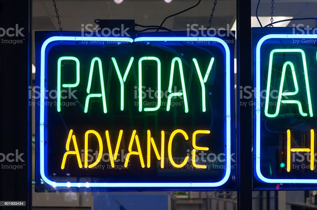 Payday advance money lender sign stock photo