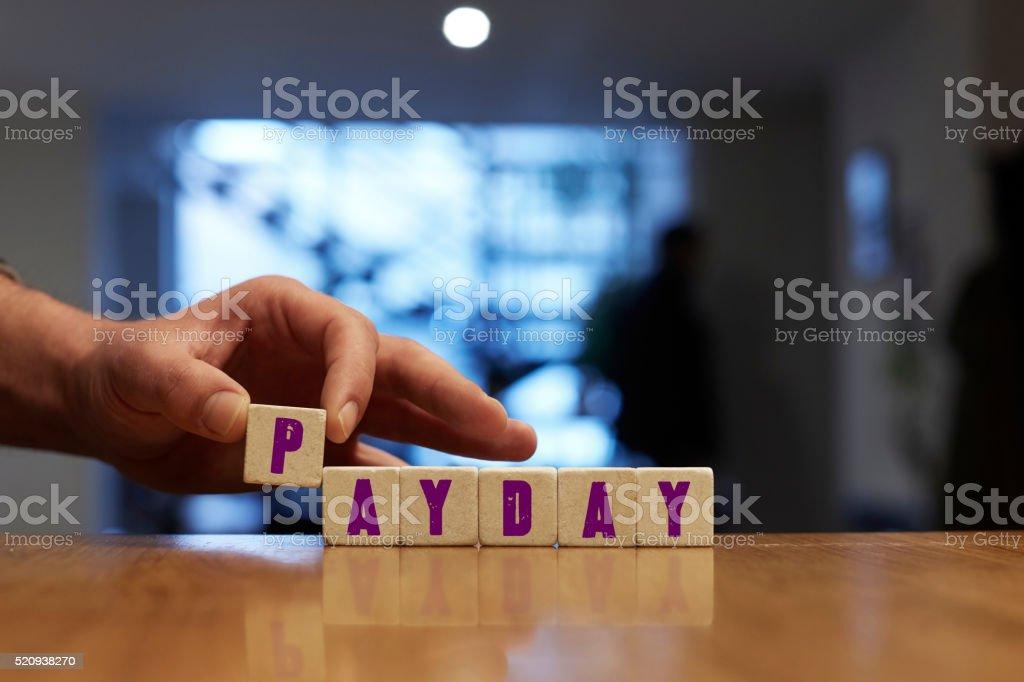 Payday Concept with Alphabet Blocks stock photo