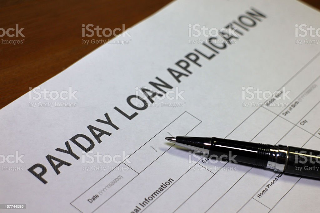 Payday Loan Application Form stock photo