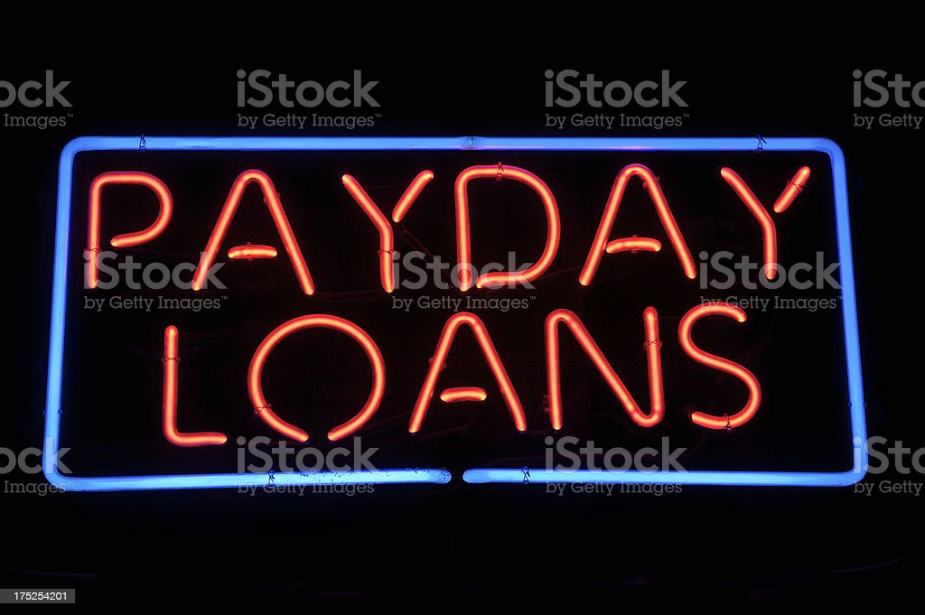 Payday Loans Message Neon Sign in Red stock photo