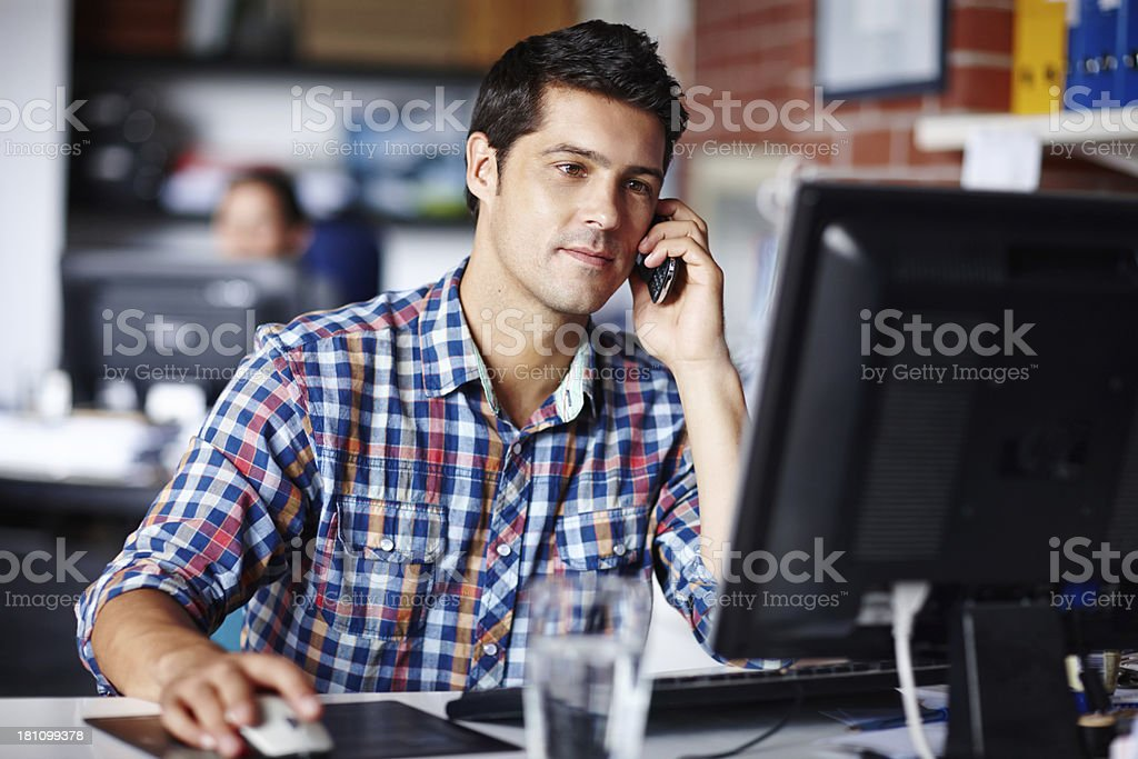 Paying attention to his client and project brief royalty-free stock photo