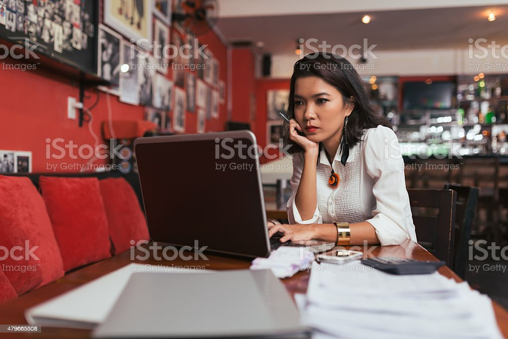 Paying bills online stock photo