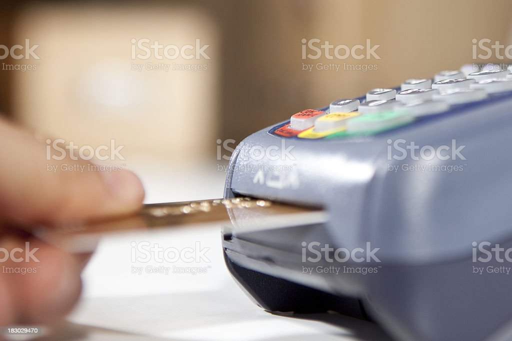 paying by credit card. stock photo
