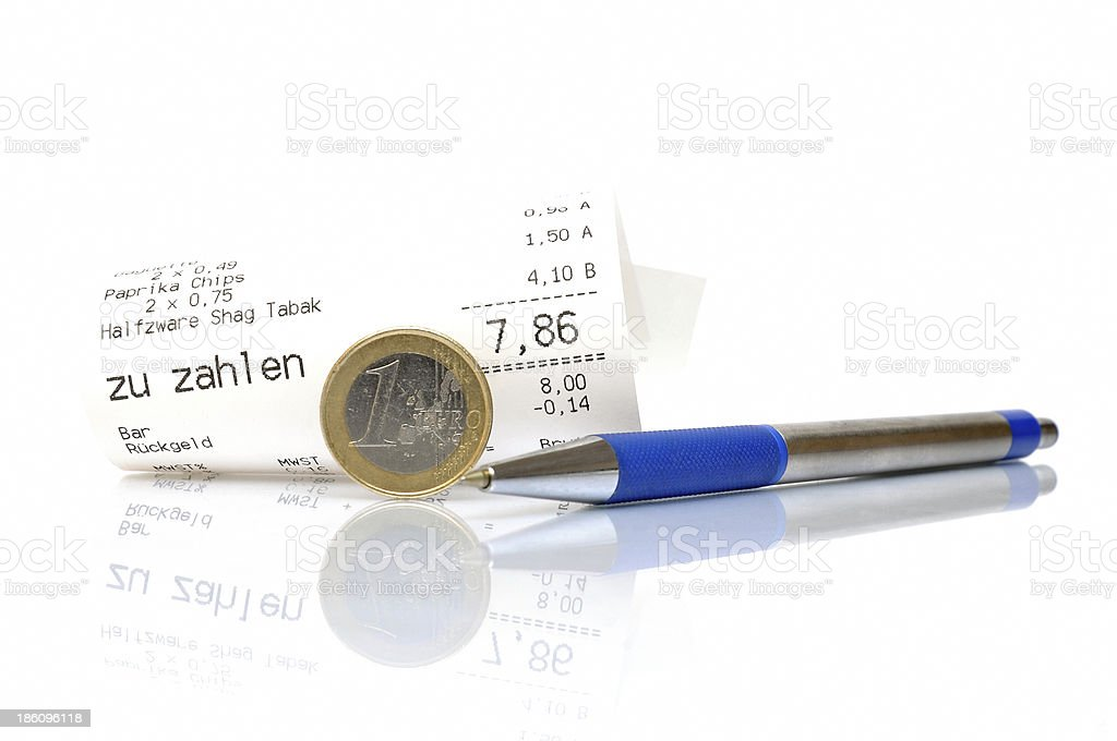 Paying cash in supermarket royalty-free stock photo