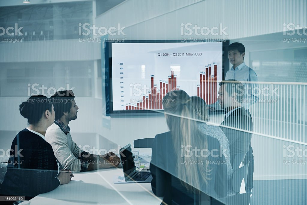 Paying close attention to his presentation stock photo