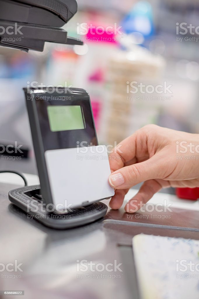 Paying contactless stock photo