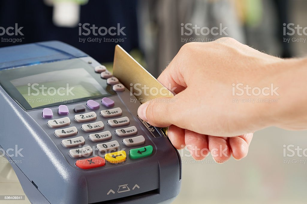 Paying for goods stock photo