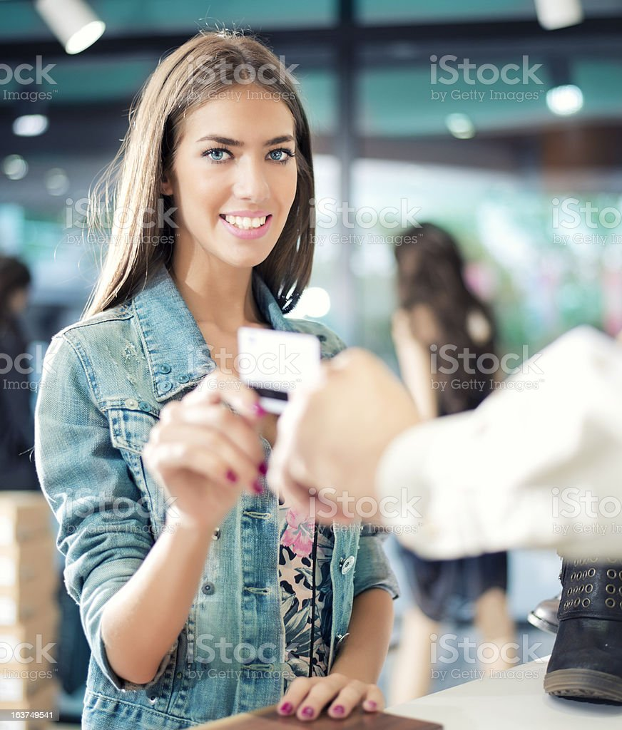 Paying for Purchases with Credit Card royalty-free stock photo