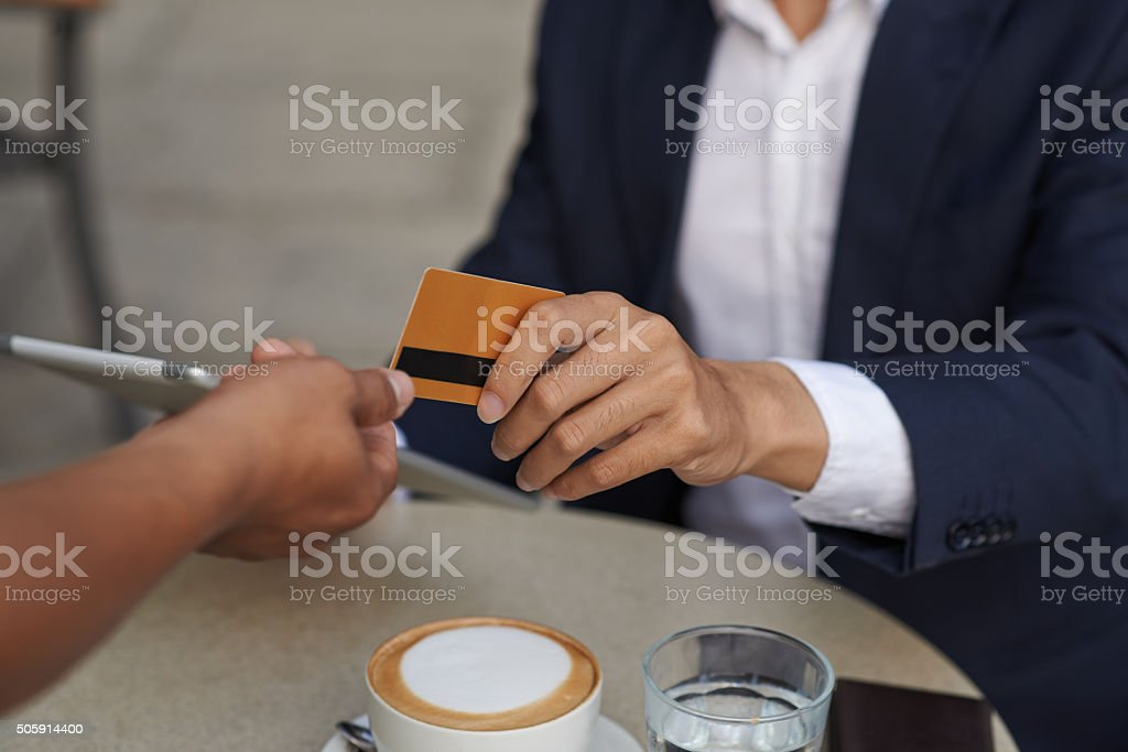 Paying for the order stock photo
