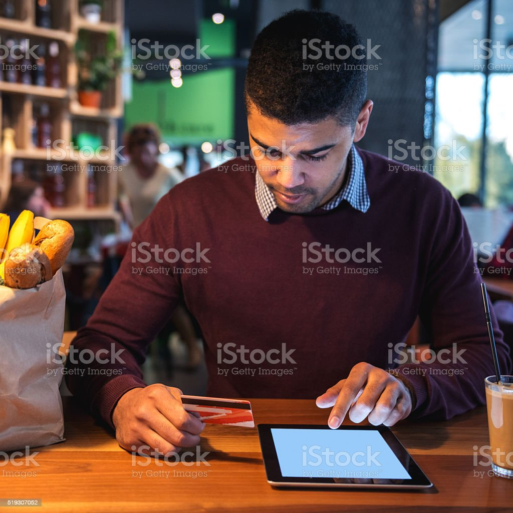 Paying online stock photo