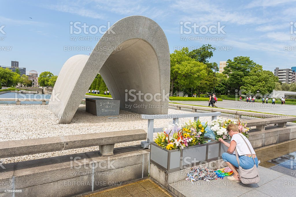 Paying Respect at Hiroshima Peace Park and Atomic Bomb Monument stock photo