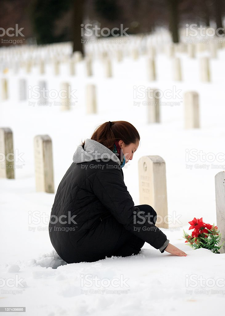 Paying respects at Arlington National Cemetery royalty-free stock photo