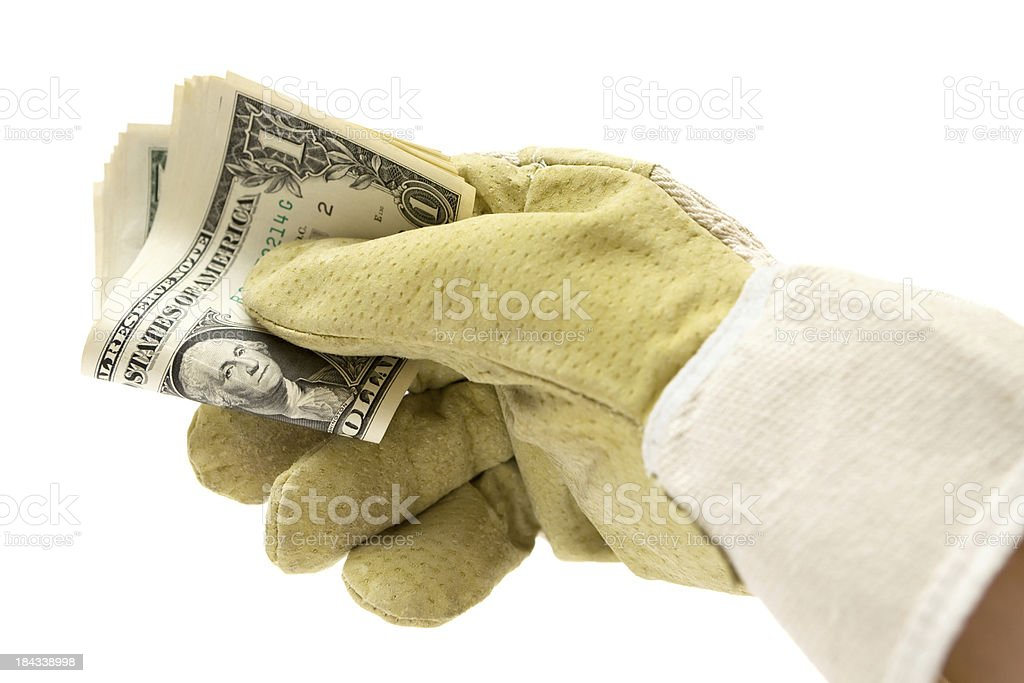 Paying the Construction Worker royalty-free stock photo