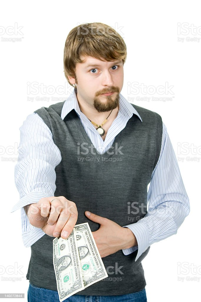 Paying, tipping, donating royalty-free stock photo