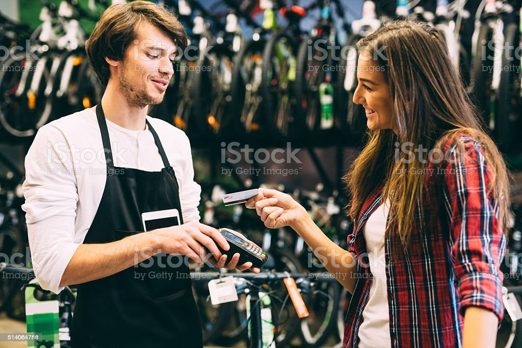 Paying with a credit card stock photo