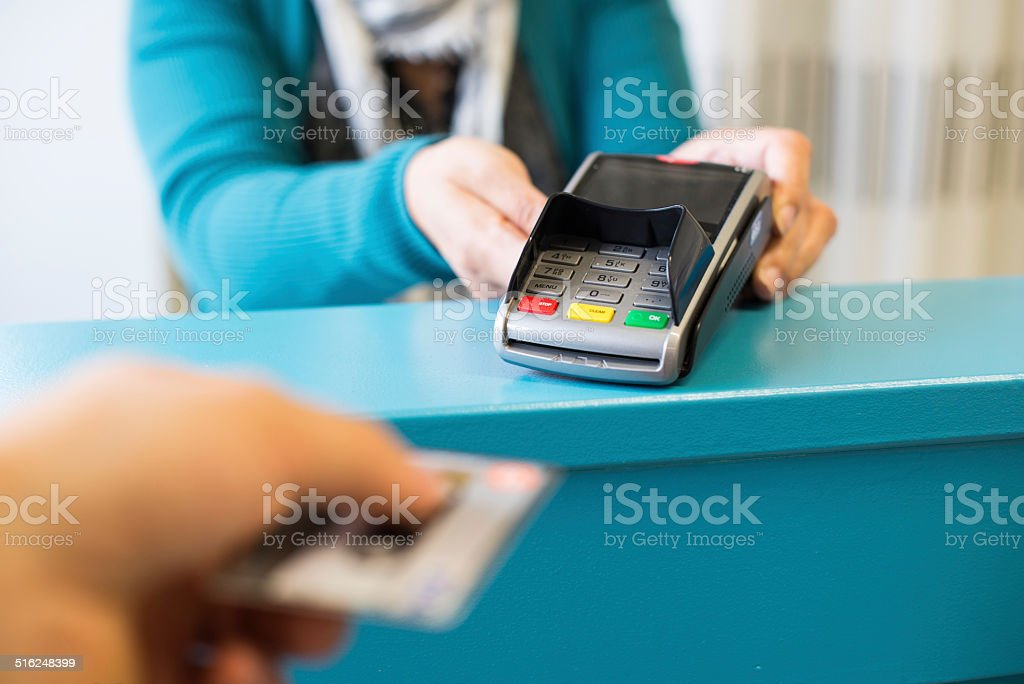 Paying with credit card stock photo