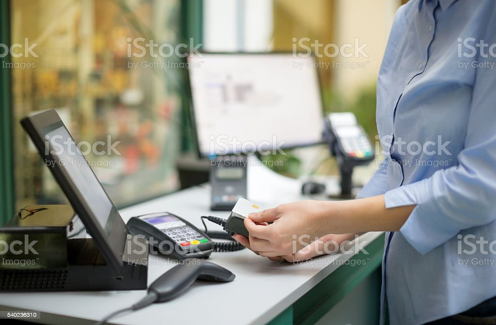 Paying with smart phone stock photo