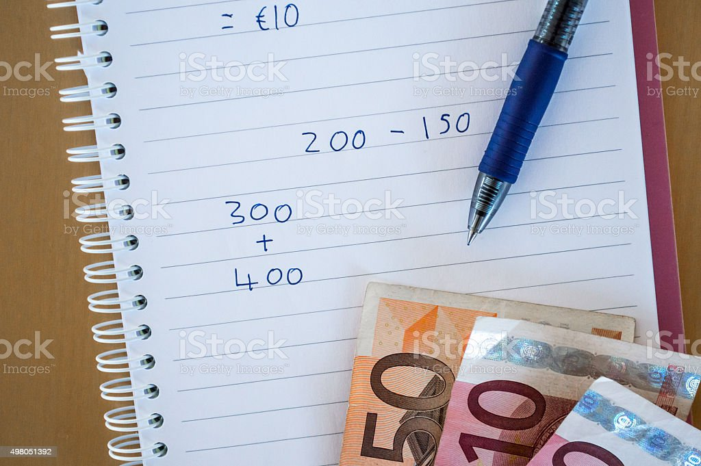 Paying/Calculating Taxes with Euros (EUR) royalty-free stock photo