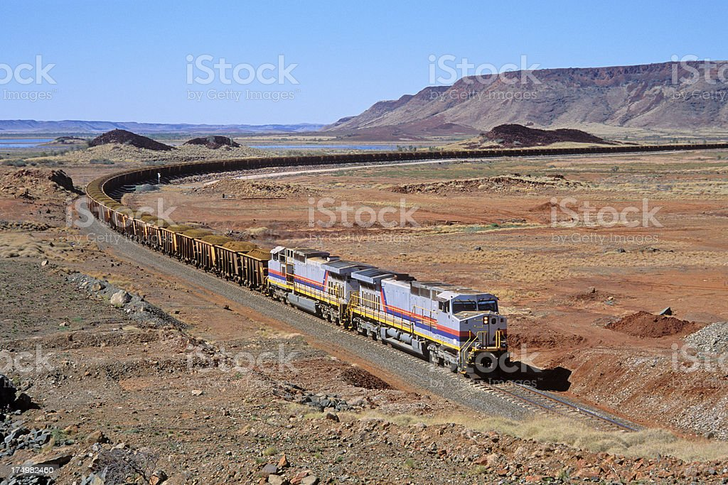 Payload of iron ore in spectacular Pilbara landscape stock photo