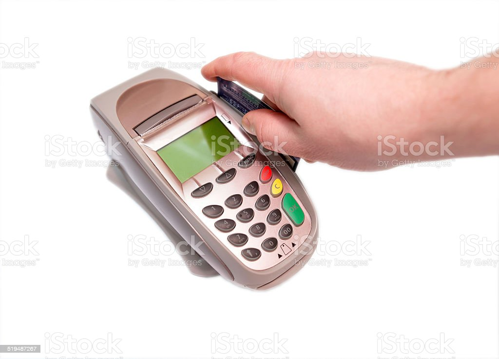 Payment by credit card through the trading terminal stock photo