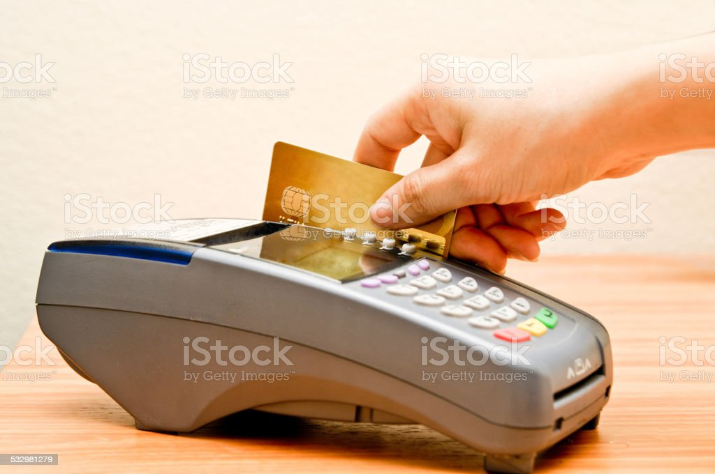 payment machine and Credit card stock photo