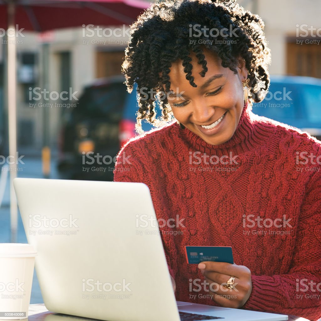 Payment online with credit card stock photo