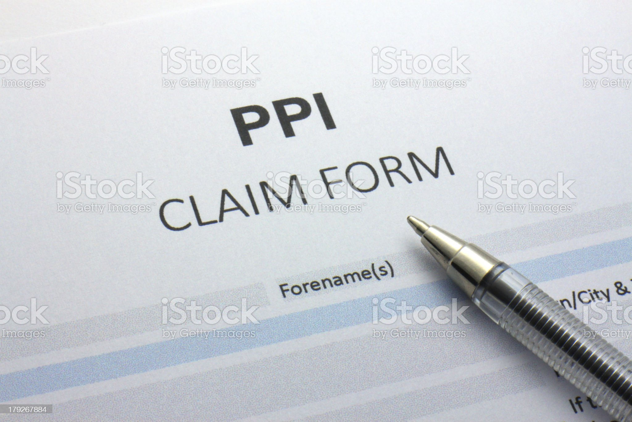 PPI - Payment Protection Insurance claim form. royalty-free stock photo
