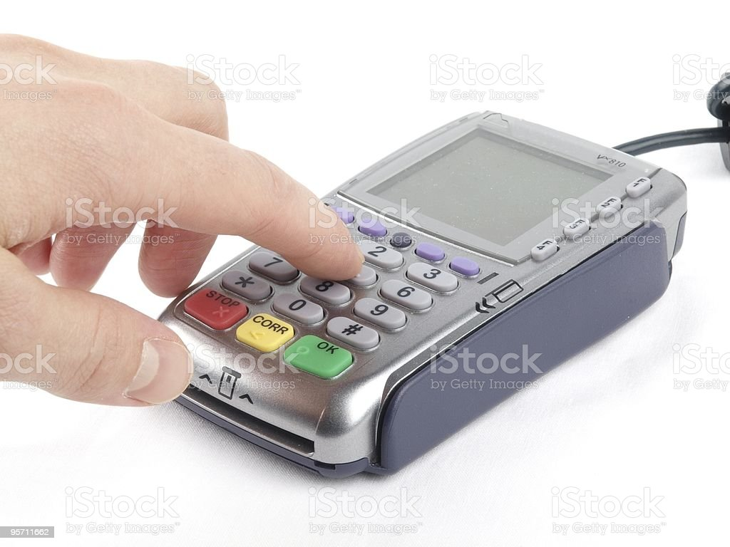 Payment terminal with wire royalty-free stock photo