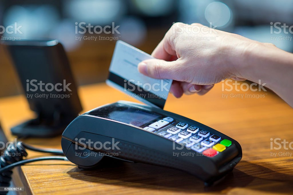 Payment with credit card stock photo