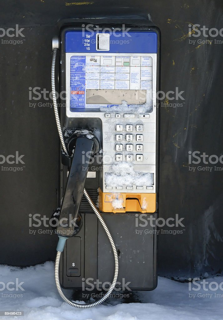 Payphone in Winter royalty-free stock photo