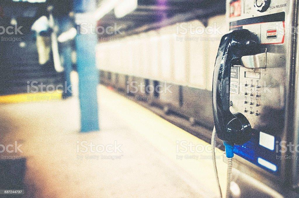 Payphone subway New York City stock photo