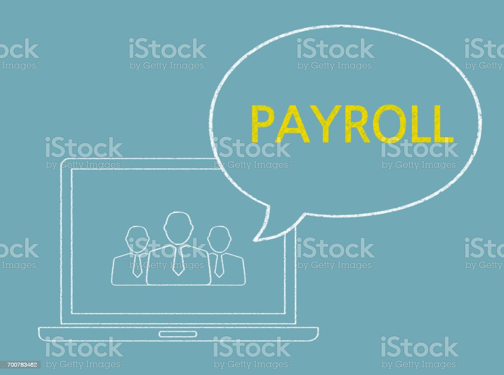 Payroll - Business Chalkboard Background stock photo