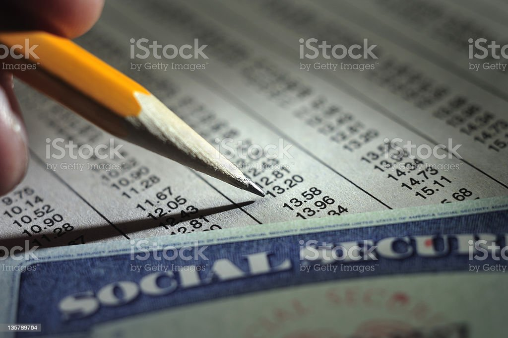 Payroll deduction with Social Security card royalty-free stock photo