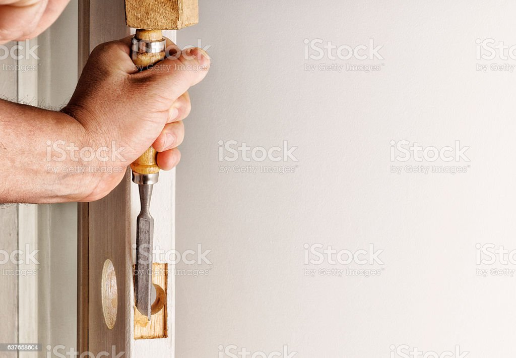 Paz in the doorway, made by a chisel. stock photo