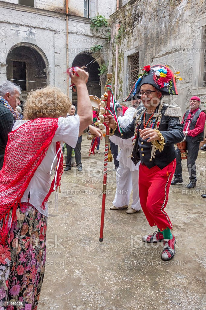 pazzariello and Neapolitan Traditional Masks Dancing stock photo