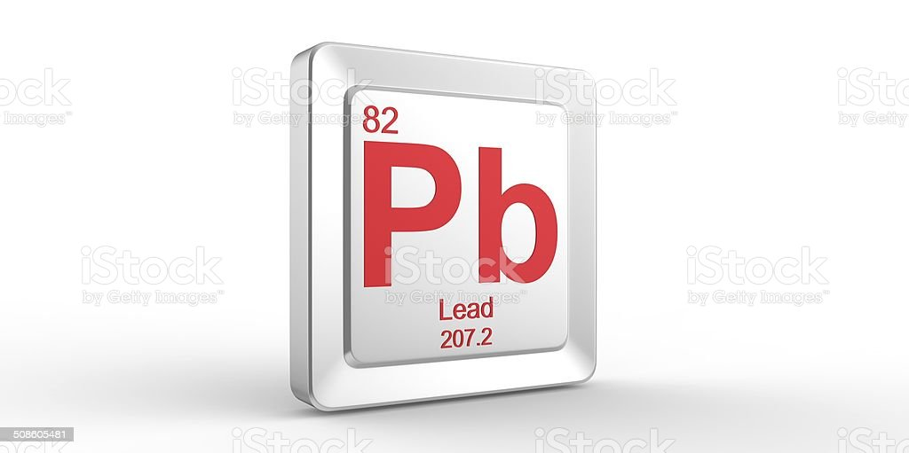 Pb symbol 82 material for Lead chemical element stock photo